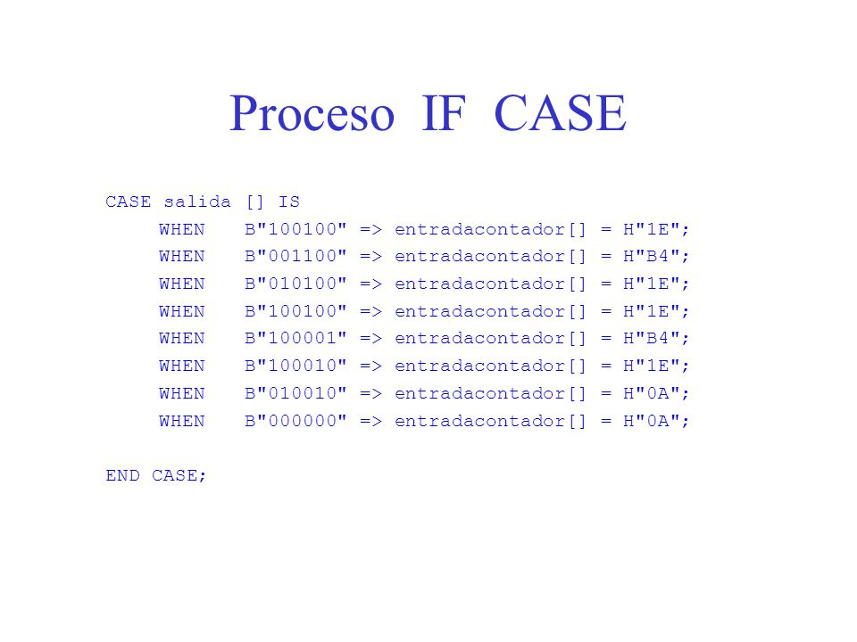 Proceso IF CASE CASE salida [] IS
